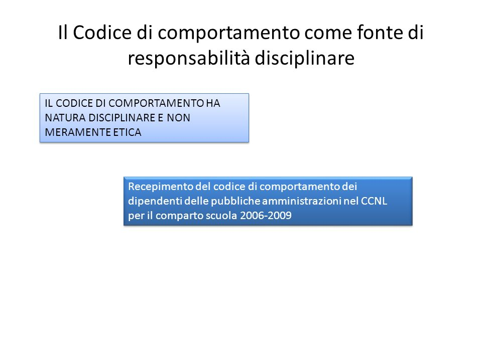 Il Codice di comportamento come fonte di responsabilità disciplinare IL CODICE DI COMPORTAMENTO HA NATURA DISCIPLINARE E NON MERAMENTE ETICA Recepimen
