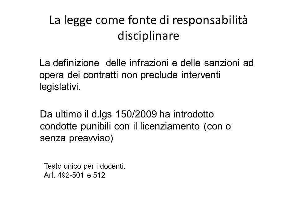 La legge come fonte di responsabilità disciplinare La definizione delle infrazioni e delle sanzioni ad opera dei contratti non preclude interventi leg