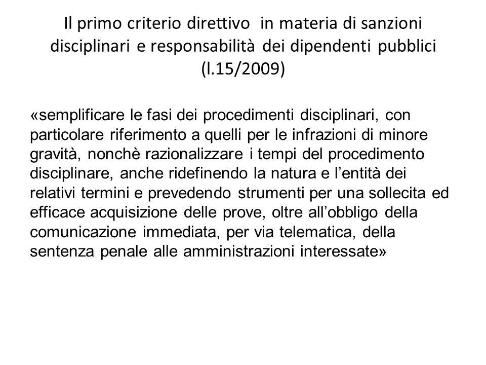 Il primo criterio direttivo in materia di sanzioni disciplinari e responsabilità dei dipendenti pubblici (l.15/2009) «semplificare le fasi dei procedi