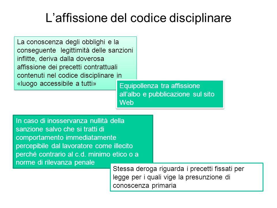 Laffissione del codice disciplinare La conoscenza degli obblighi e la conseguente legittimità delle sanzioni inflitte, deriva dalla doverosa affission