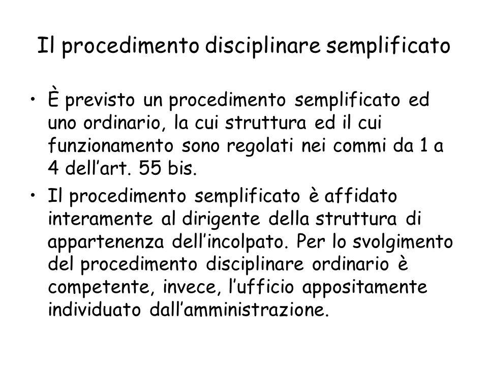 Il procedimento disciplinare semplificato È previsto un procedimento semplificato ed uno ordinario, la cui struttura ed il cui funzionamento sono rego