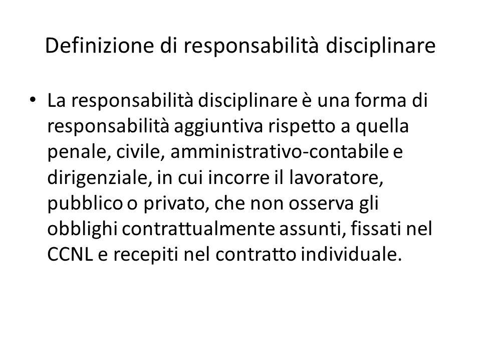 Definizione di responsabilità disciplinare La responsabilità disciplinare è una forma di responsabilità aggiuntiva rispetto a quella penale, civile, a