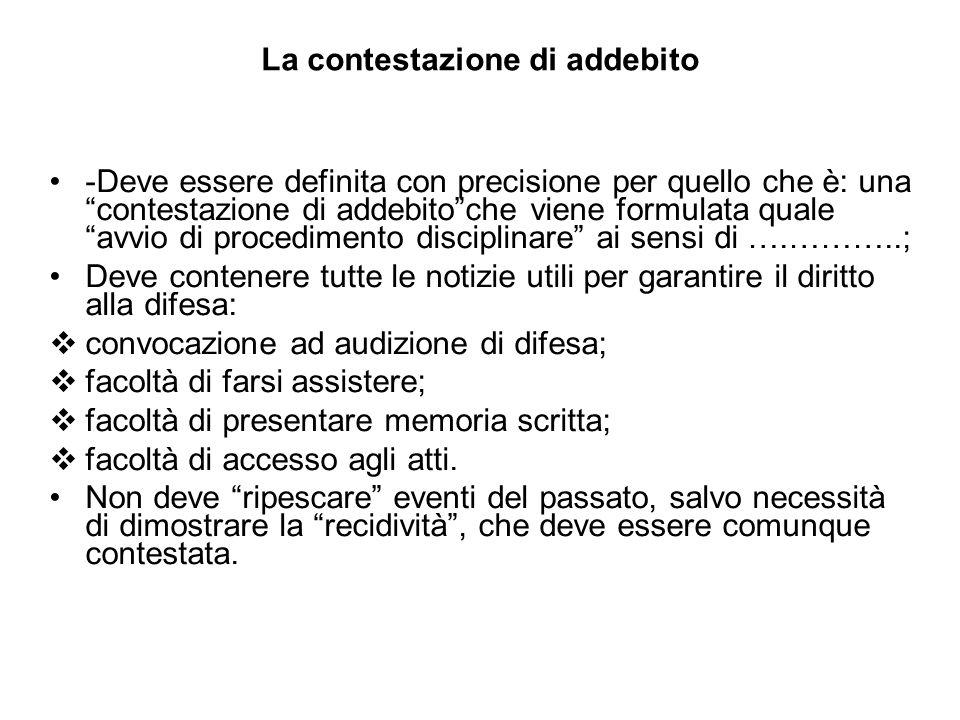 La contestazione di addebito -Deve essere definita con precisione per quello che è: una contestazione di addebitoche viene formulata quale avvio di pr