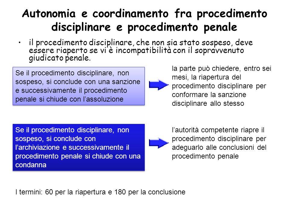 Autonomia e coordinamento fra procedimento disciplinare e procedimento penale il procedimento disciplinare, che non sia stato sospeso, deve essere ria