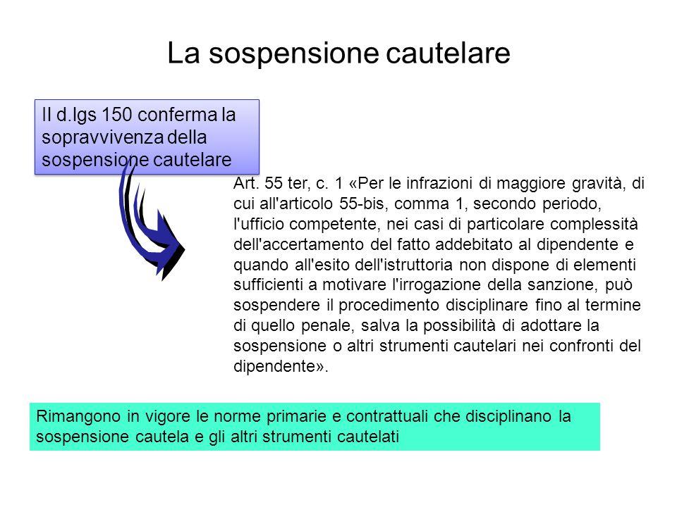 La sospensione cautelare Il d.lgs 150 conferma la sopravvivenza della sospensione cautelare Art. 55 ter, c. 1 «Per le infrazioni di maggiore gravità,