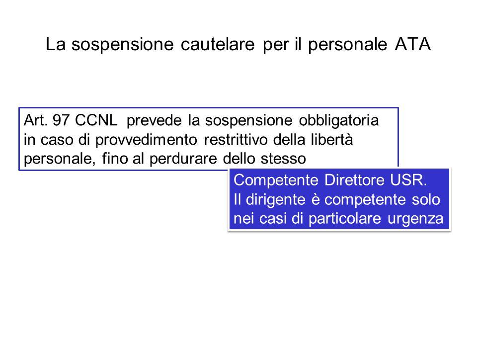 La sospensione cautelare per il personale ATA Art. 97 CCNL prevede la sospensione obbligatoria in caso di provvedimento restrittivo della libertà pers