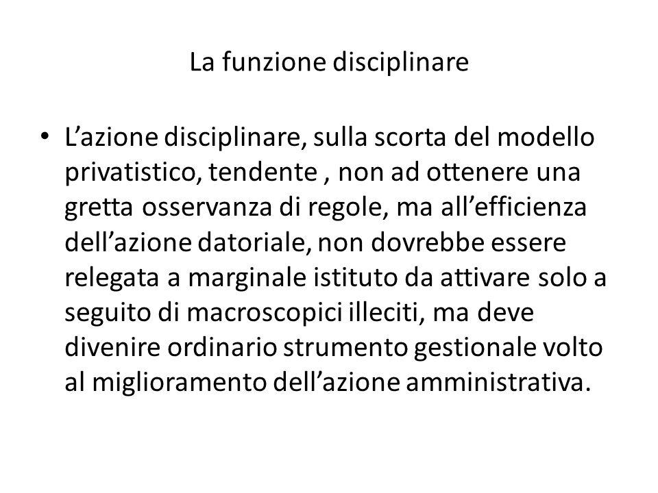 La funzione disciplinare Lazione disciplinare, sulla scorta del modello privatistico, tendente, non ad ottenere una gretta osservanza di regole, ma al