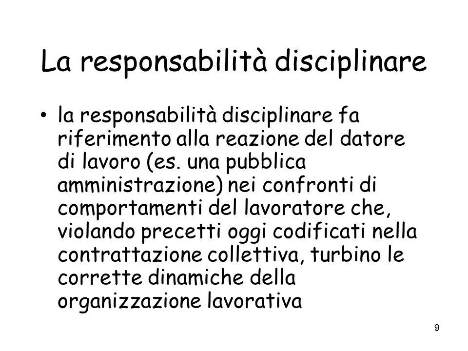 9 La responsabilità disciplinare la responsabilità disciplinare fa riferimento alla reazione del datore di lavoro (es. una pubblica amministrazione) n
