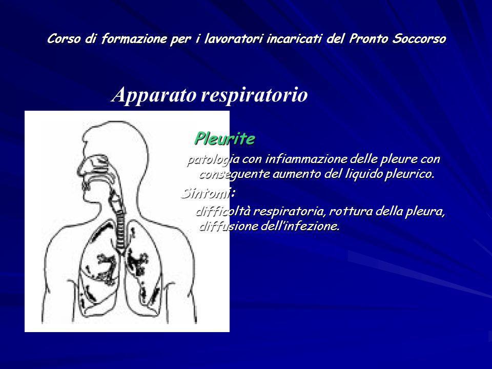 Corso di formazione per i lavoratori incaricati del Pronto Soccorso Pleurite Pleurite patologia con infiammazione delle pleure con conseguente aumento