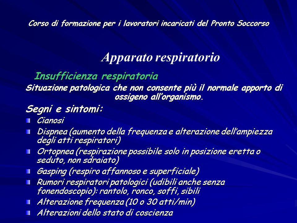 Corso di formazione per i lavoratori incaricati del Pronto Soccorso Insufficienza respiratoria Insufficienza respiratoria Situazione patologica che no