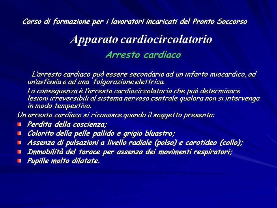 Corso di formazione per i lavoratori incaricati del Pronto Soccorso Arresto cardiaco Arresto cardiaco Larresto cardiaco può essere secondario ad un in
