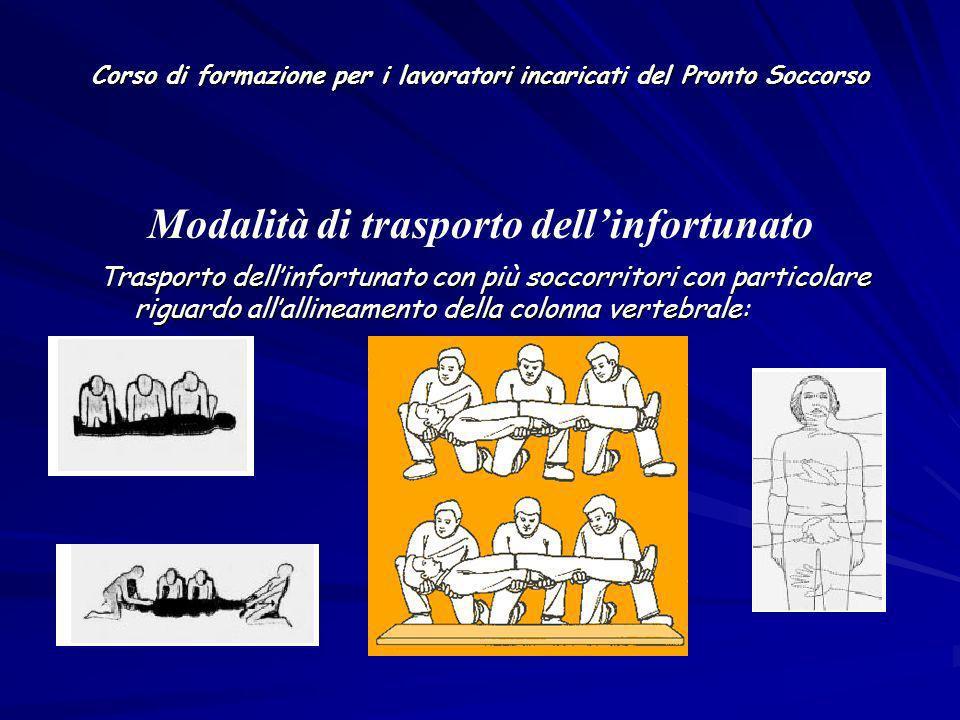 Corso di formazione per i lavoratori incaricati del Pronto Soccorso Trasporto dellinfortunato con più soccorritori con particolare riguardo allallinea