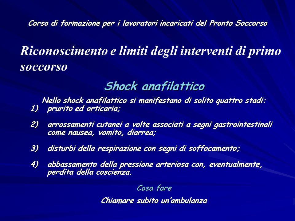 Corso di formazione per i lavoratori incaricati del Pronto Soccorso Shock anafilattico Nello shock anafilattico si manifestano di solito quattro stadi
