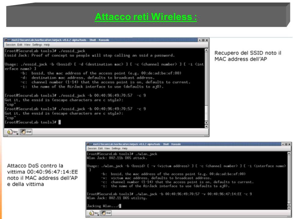 Attacco reti Wireless :