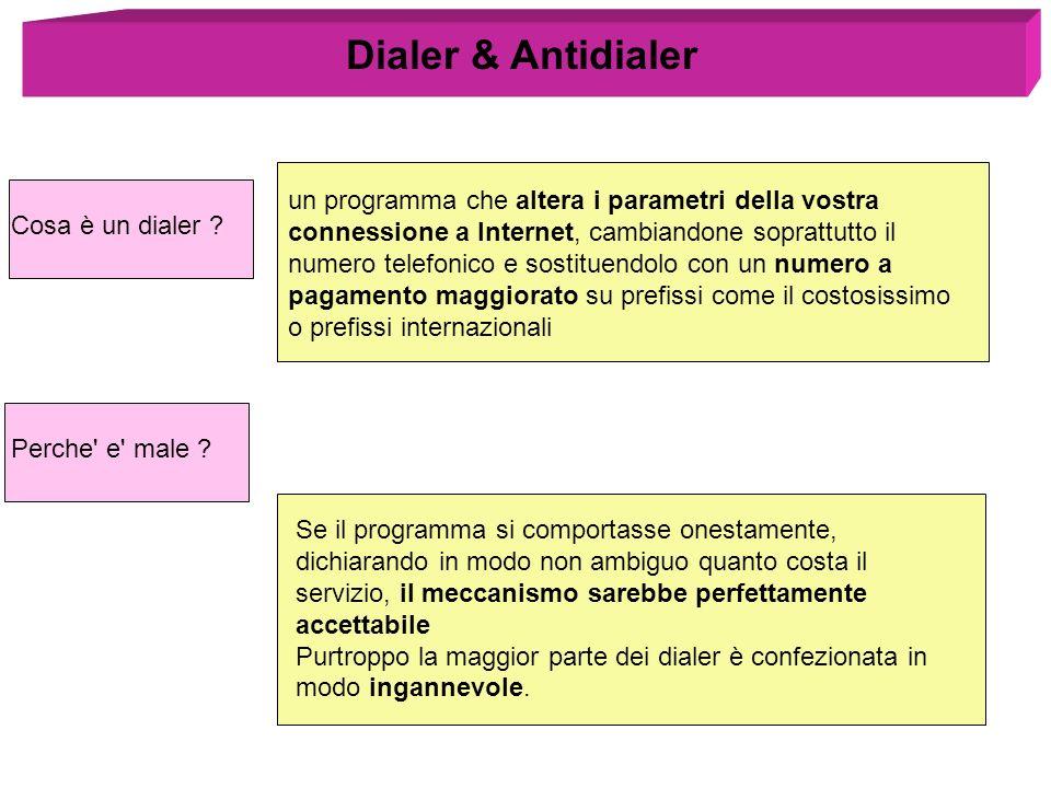 Dialer & Antidialer un programma che altera i parametri della vostra connessione a Internet, cambiandone soprattutto il numero telefonico e sostituend