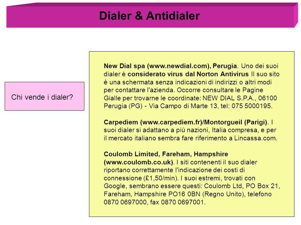 Chi vende i dialer? Dialer & Antidialer New Dial spa (www.newdial.com), Perugia. Uno dei suoi dialer è considerato virus dal Norton Antivirus Il suo s