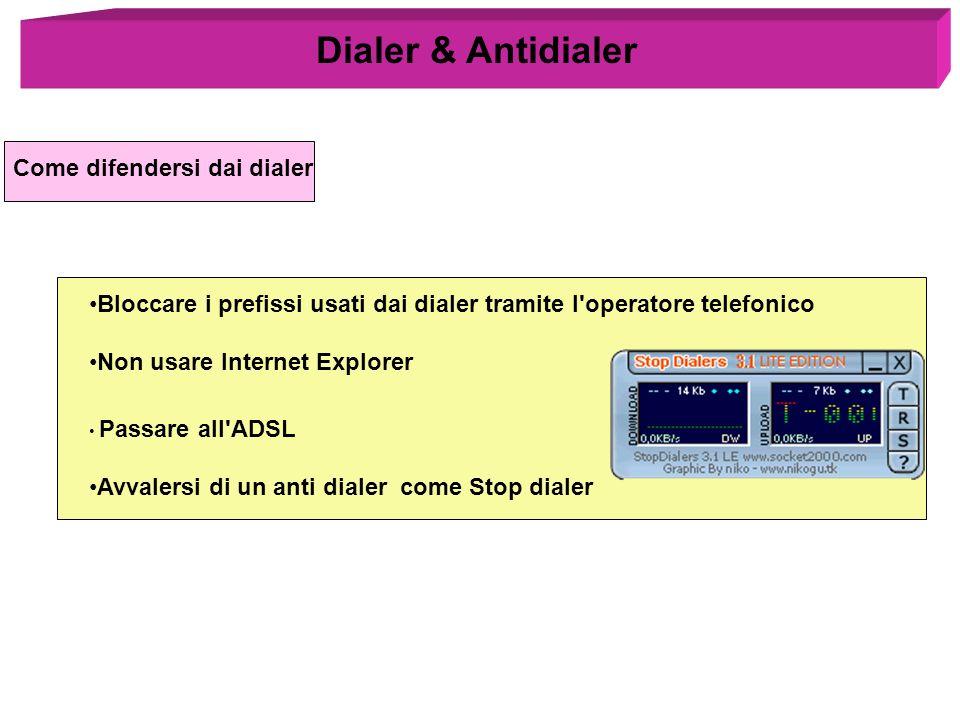 Come difendersi dai dialer Bloccare i prefissi usati dai dialer tramite l'operatore telefonico Non usare Internet Explorer Passare all'ADSL Avvalersi