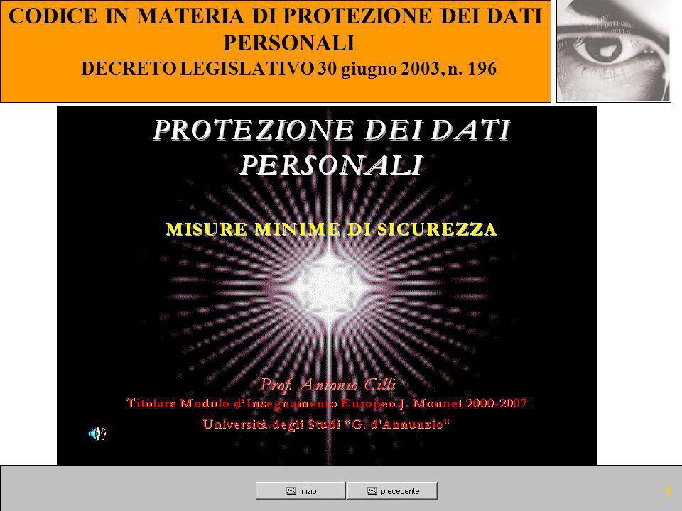 1 CODICE IN MATERIA DI PROTEZIONE DEI DATI PERSONALI DECRETO LEGISLATIVO 30 giugno 2003, n. 196