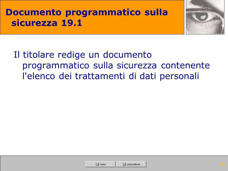 33 Documento programmatico sulla sicurezza 19 Entro il 31 marzo di ogni anno, il titolare di un trattamento di dati sensibili o di dati giudiziari red