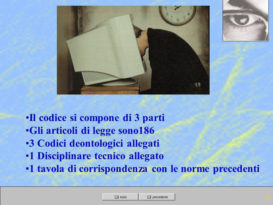 3 Norme abrogate (art. 183 codice) L. 675/96 D.P.R. 318/99 altre