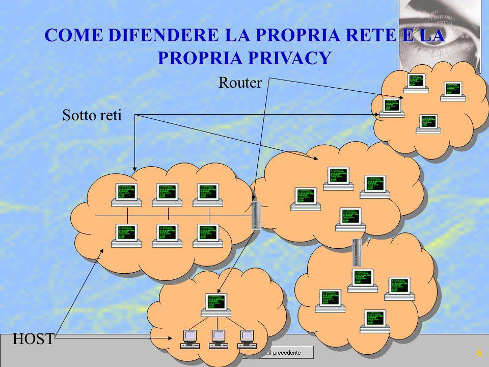 6 COME DIFENDERE LA PROPRIA RETE E LA PROPRIA PRIVACY HOST Sotto reti Router