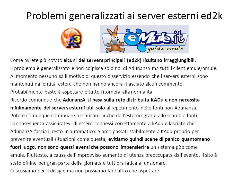 Problemi generalizzati ai server esterni ed2k Come avrete già notato alcuni dei servers principali (ed2k) risultano irraggiungibili.