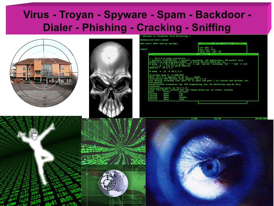 Virus - Troyan - Spyware - Spam - Backdoor - Dialer - Phishing - Cracking - Sniffing