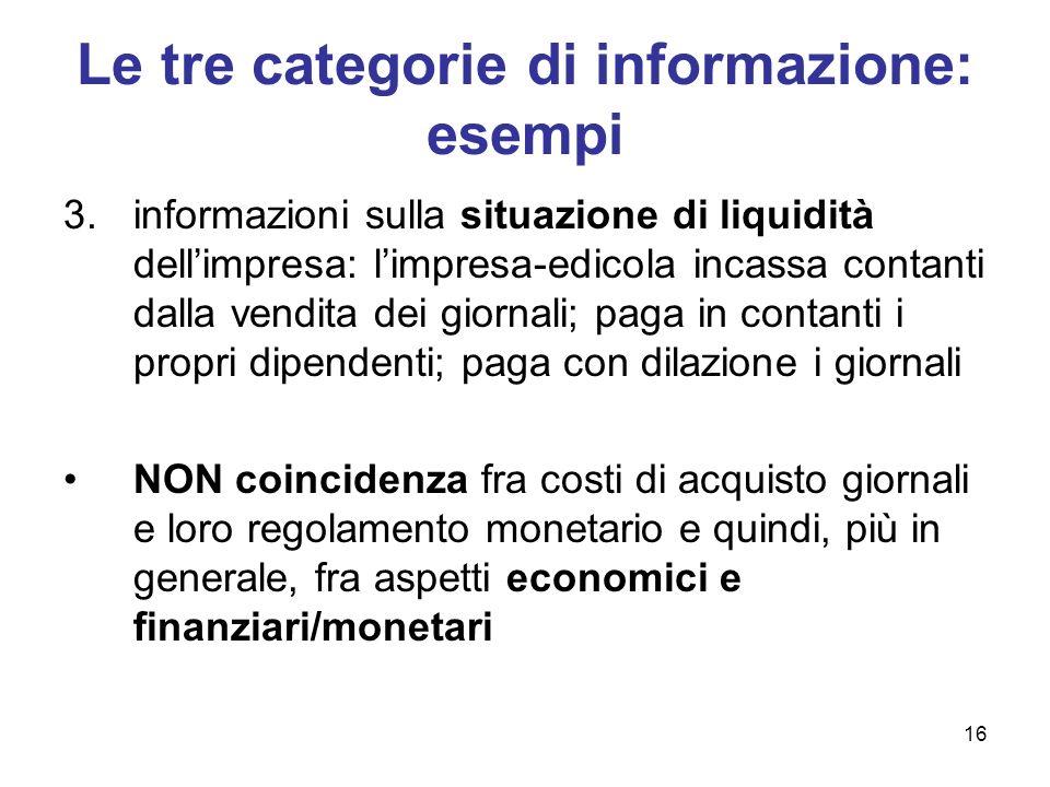 16 Le tre categorie di informazione: esempi 3.informazioni sulla situazione di liquidità dellimpresa: limpresa-edicola incassa contanti dalla vendita