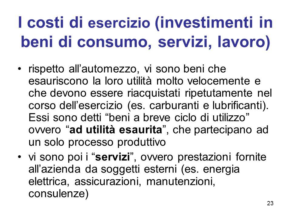23 I costi di esercizio (investimenti in beni di consumo, servizi, lavoro) rispetto allautomezzo, vi sono beni che esauriscono la loro utilità molto v