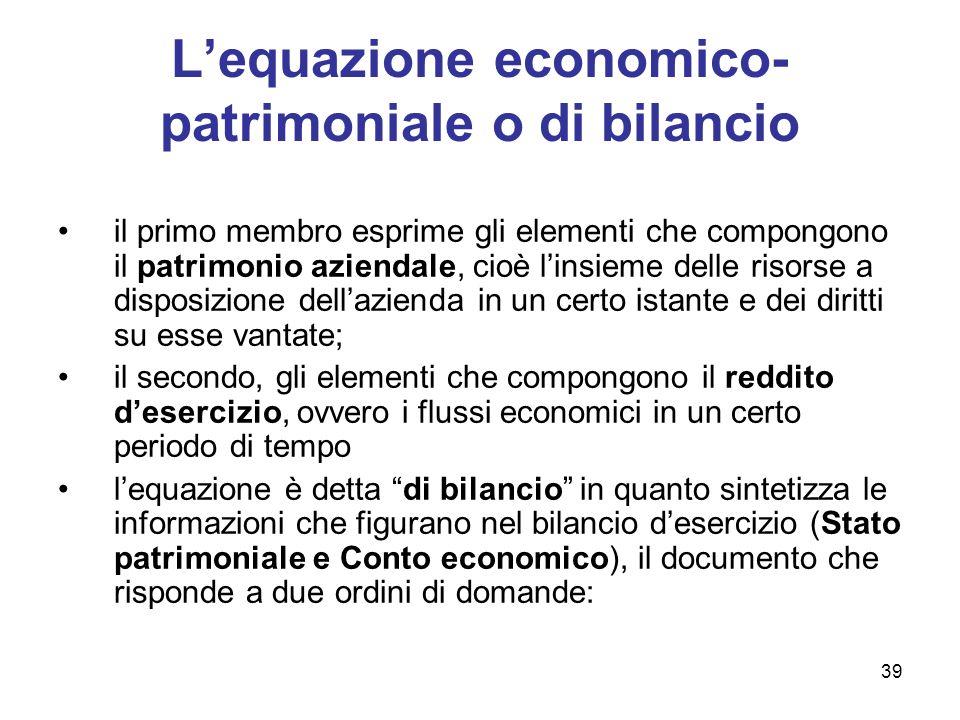 39 Lequazione economico- patrimoniale o di bilancio il primo membro esprime gli elementi che compongono il patrimonio aziendale, cioè linsieme delle r