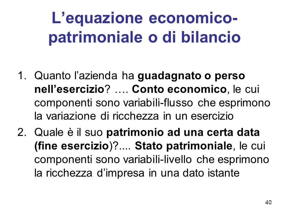 40 Lequazione economico- patrimoniale o di bilancio 1.Quanto lazienda ha guadagnato o perso nellesercizio? …. Conto economico, le cui componenti sono