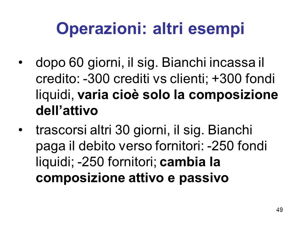 49 Operazioni: altri esempi dopo 60 giorni, il sig. Bianchi incassa il credito: -300 crediti vs clienti; +300 fondi liquidi, varia cioè solo la compos