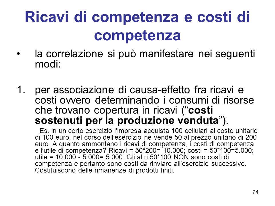 74 Ricavi di competenza e costi di competenza la correlazione si può manifestare nei seguenti modi: 1.per associazione di causa-effetto fra ricavi e c