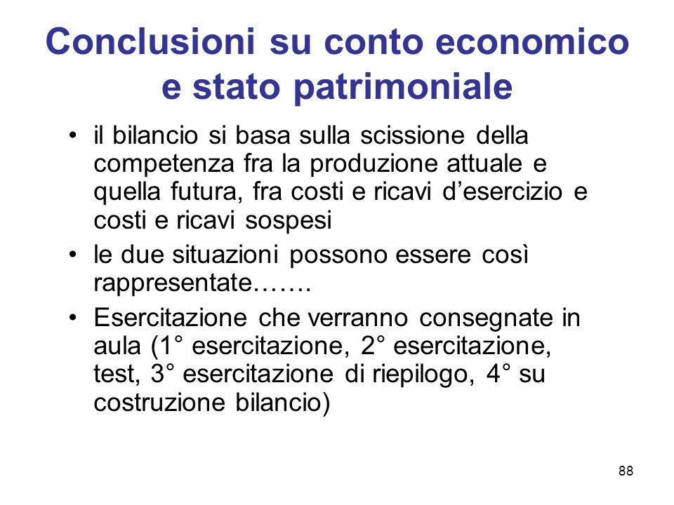 88 Conclusioni su conto economico e stato patrimoniale il bilancio si basa sulla scissione della competenza fra la produzione attuale e quella futura,
