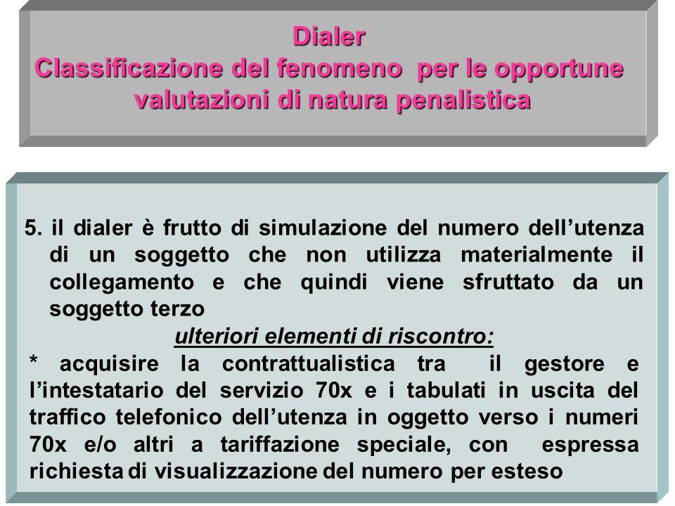 5. il dialer è frutto di simulazione del numero dellutenza di un soggetto che non utilizza materialmente il collegamento e che quindi viene sfruttato