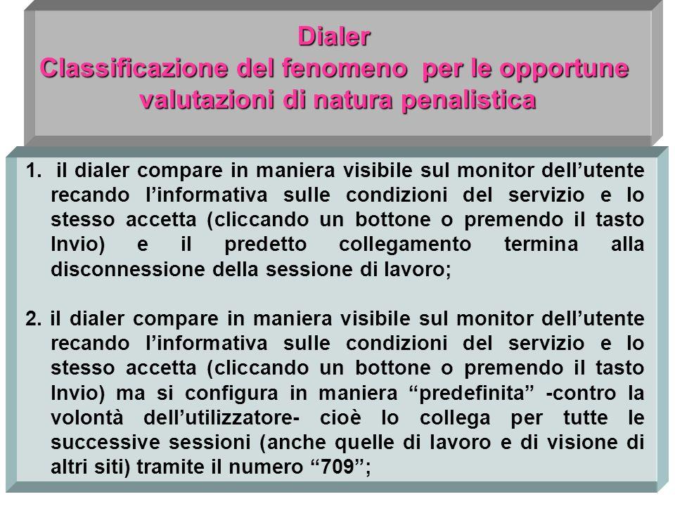 Dialer Classificazione del fenomeno per le opportune valutazioni di natura penalistica valutazioni di natura penalistica 1.