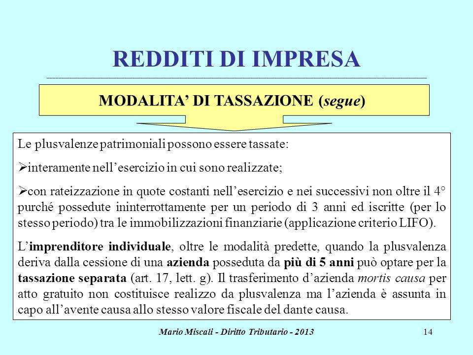 Mario Miscali - Diritto Tributario - 201314 REDDITI DI IMPRESA _______________________________________________________________________________________
