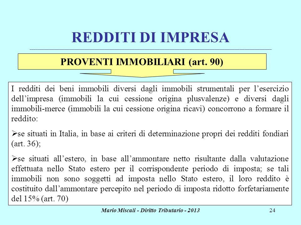 Mario Miscali - Diritto Tributario - 201324 REDDITI DI IMPRESA _______________________________________________________________________________________
