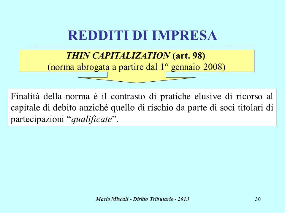 Mario Miscali - Diritto Tributario - 201330 REDDITI DI IMPRESA _______________________________________________________________________________________