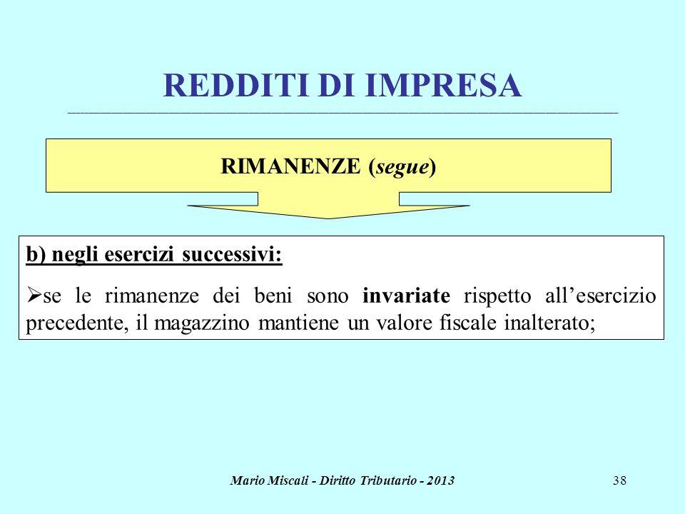 Mario Miscali - Diritto Tributario - 201338 REDDITI DI IMPRESA _______________________________________________________________________________________