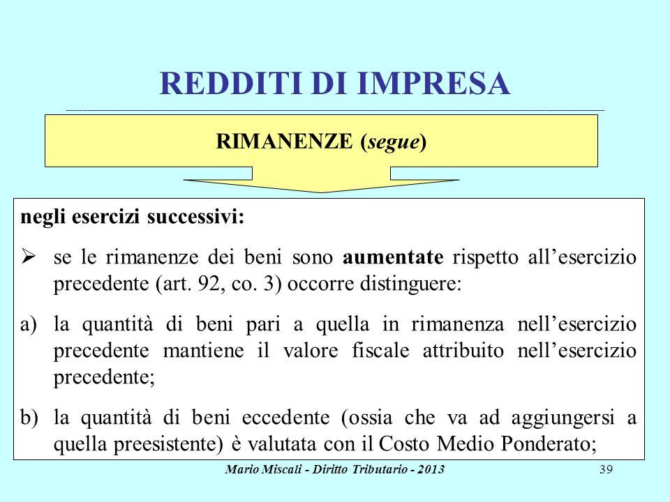 Mario Miscali - Diritto Tributario - 201339 REDDITI DI IMPRESA _______________________________________________________________________________________