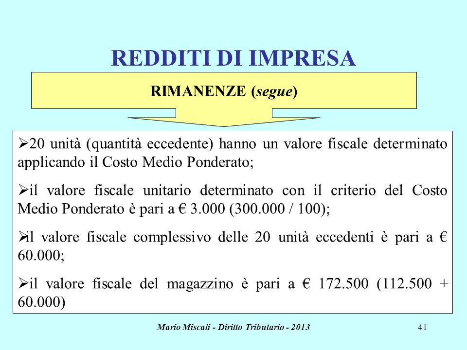 Mario Miscali - Diritto Tributario - 201341 REDDITI DI IMPRESA _______________________________________________________________________________________
