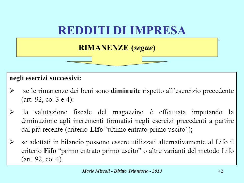 Mario Miscali - Diritto Tributario - 201342 REDDITI DI IMPRESA _______________________________________________________________________________________