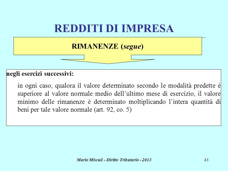Mario Miscali - Diritto Tributario - 201343 REDDITI DI IMPRESA _______________________________________________________________________________________