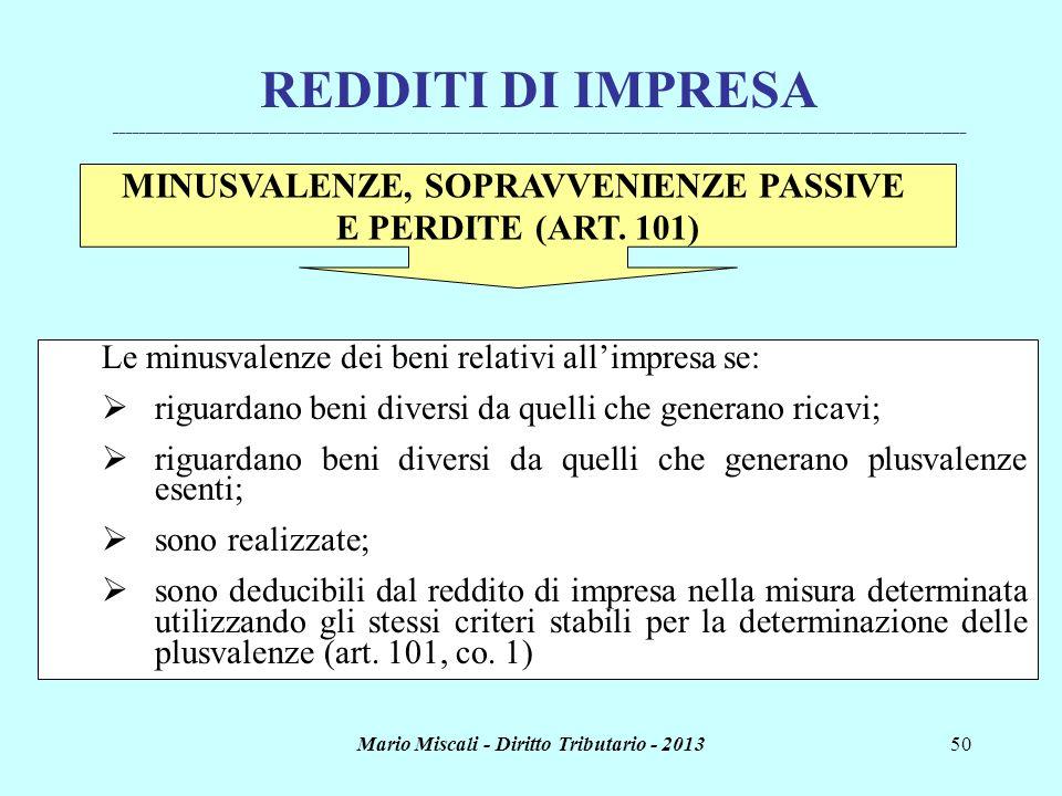Mario Miscali - Diritto Tributario - 201350 REDDITI DI IMPRESA _______________________________________________________________________________________
