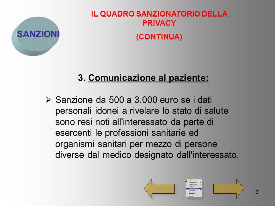 4 SANZIONI IL QUADRO SANZIONATORIO DELLA PRIVACY (CONTINUA) 4.