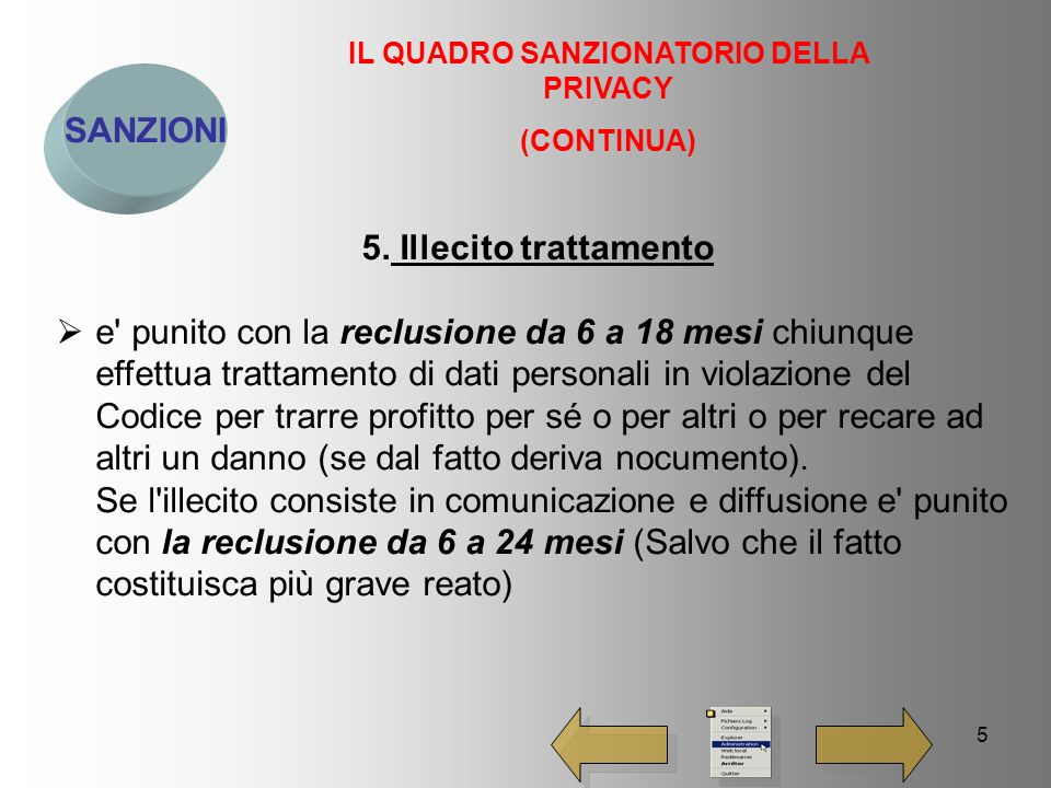 5 SANZIONI IL QUADRO SANZIONATORIO DELLA PRIVACY (CONTINUA) 5.