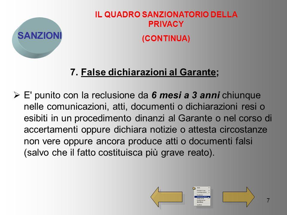 8 SANZIONI IL QUADRO SANZIONATORIO DELLA PRIVACY (CONTINUA) 8.