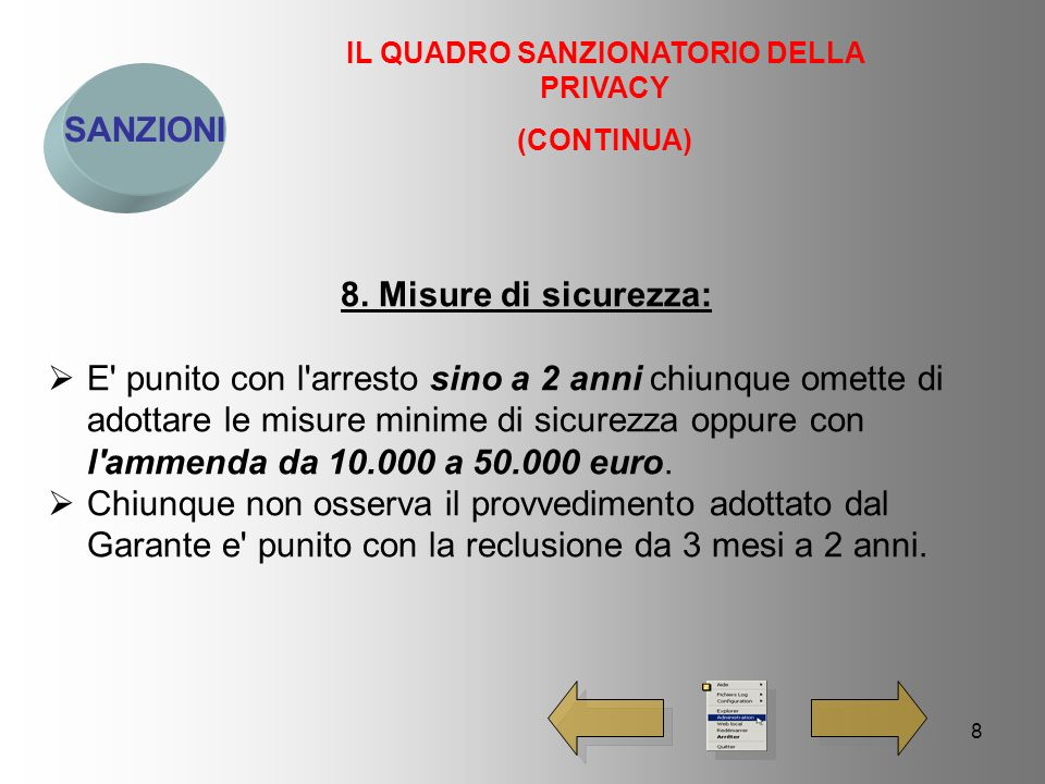 9 SANZIONI IL QUADRO SANZIONATORIO DELLA PRIVACY (CONTINUA) 9.