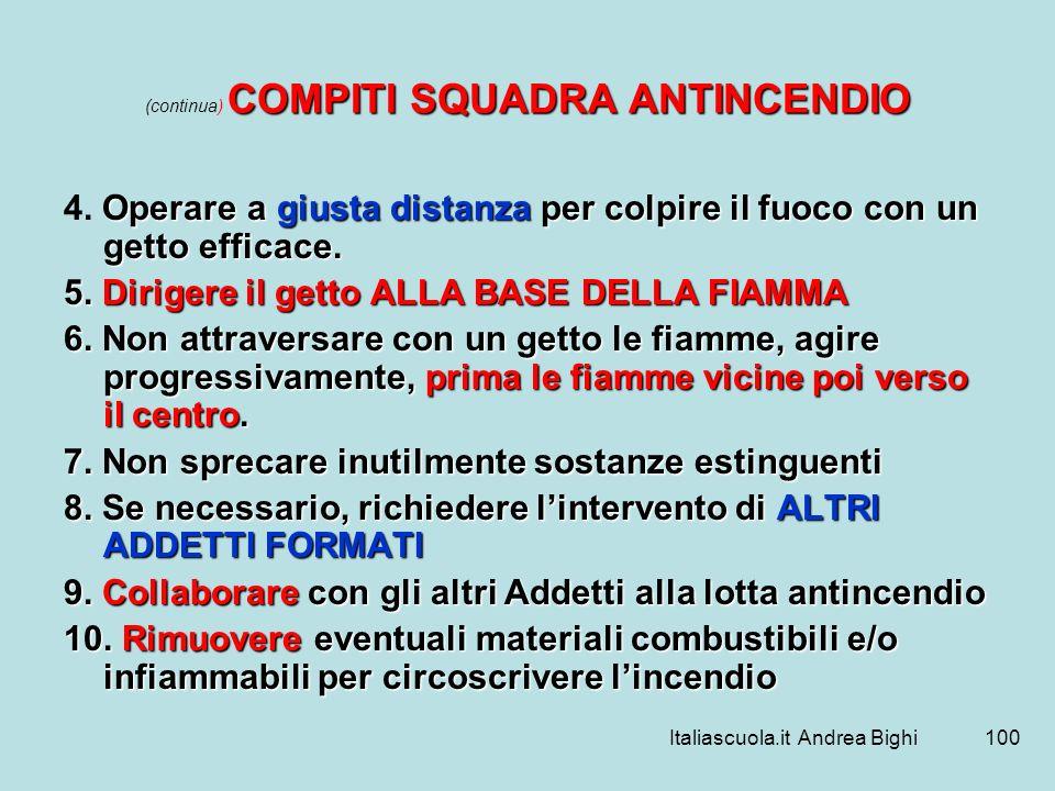 Italiascuola.it Andrea Bighi100 COMPITI SQUADRA ANTINCENDIO (continua) COMPITI SQUADRA ANTINCENDIO Operare a giusta distanza per colpire il fuoco con